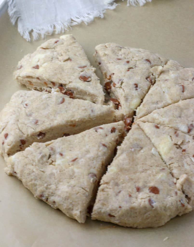 cinnamon chip scones cut into 8 wedges