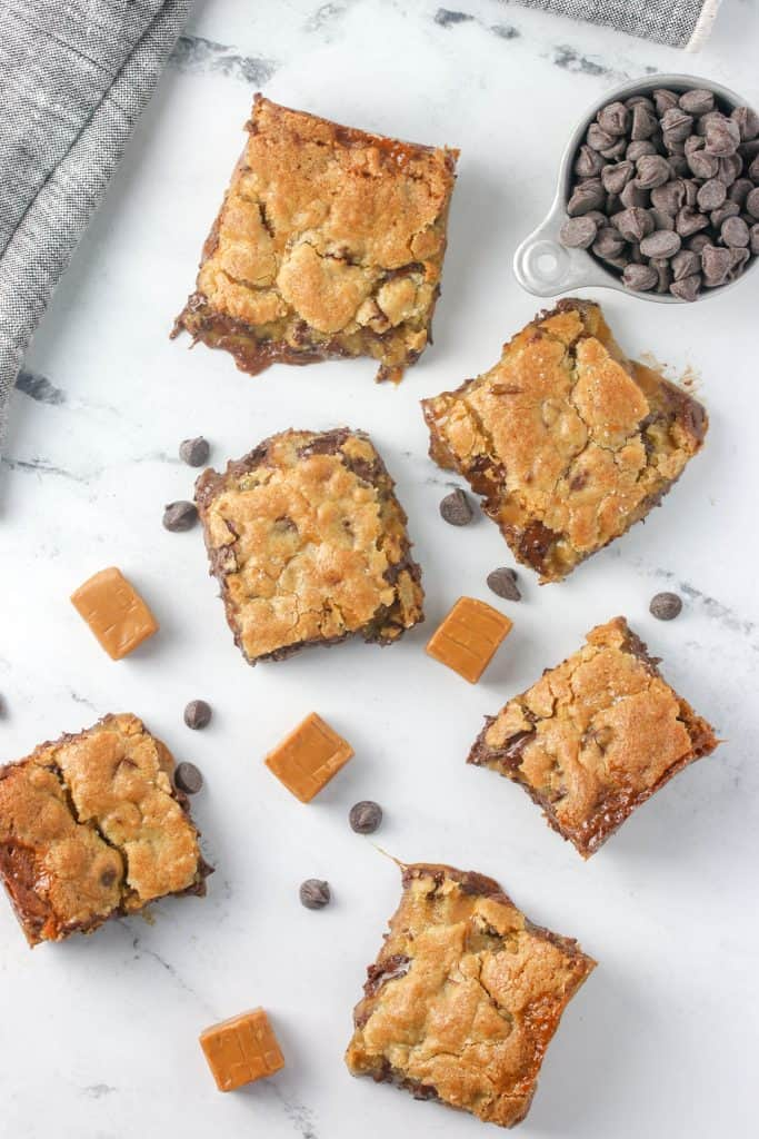 salted caramel cookie bars and chocolate chips