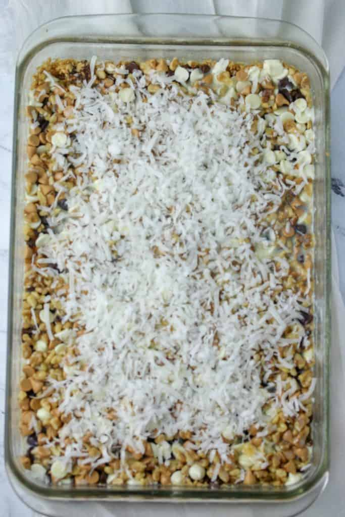coconut sprinkled on seven layer bars