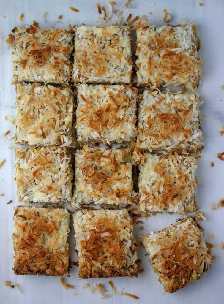 seven layer bars cut into squares
