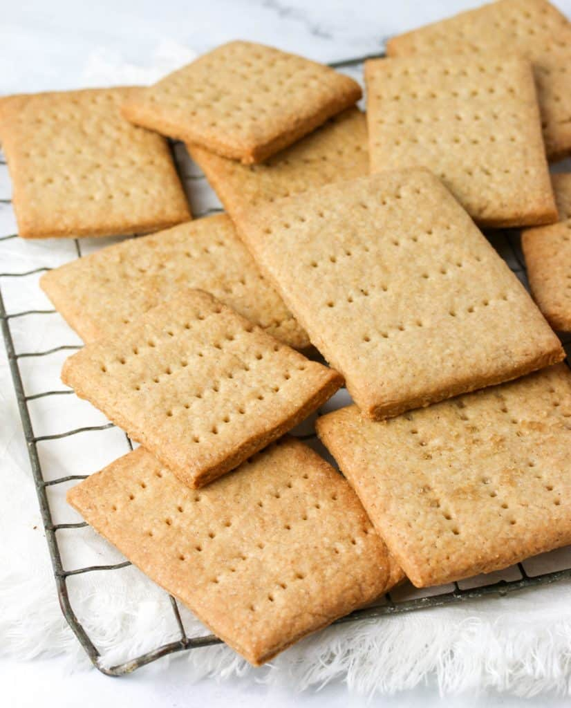 homemade graham crackers on a cooling rack
