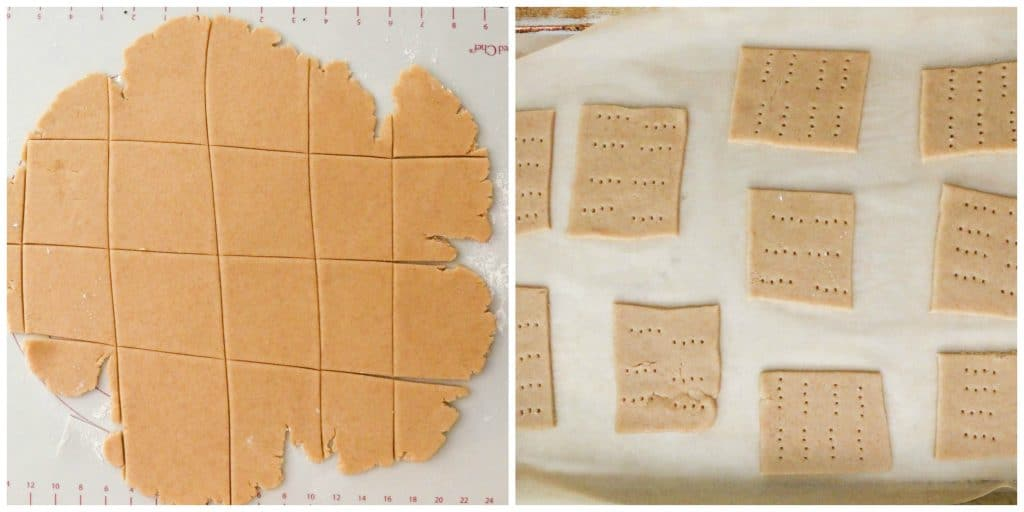 graham crackers cut into squares and holes poked in top