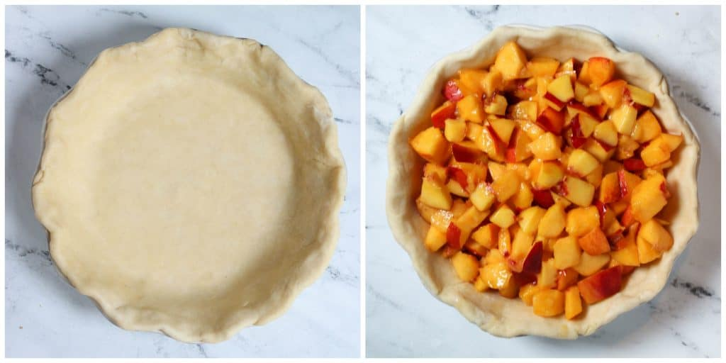 pie crust in plate with filling