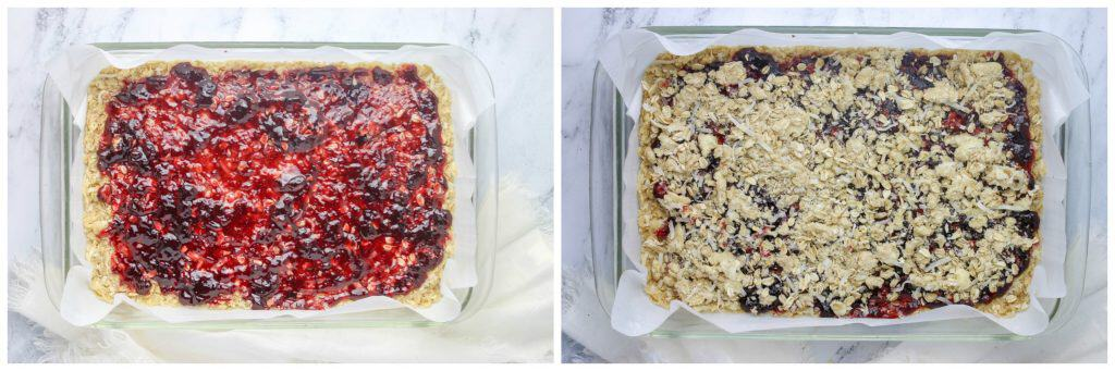 jam spread onto raspberry bar dough and sprinkled with streusel