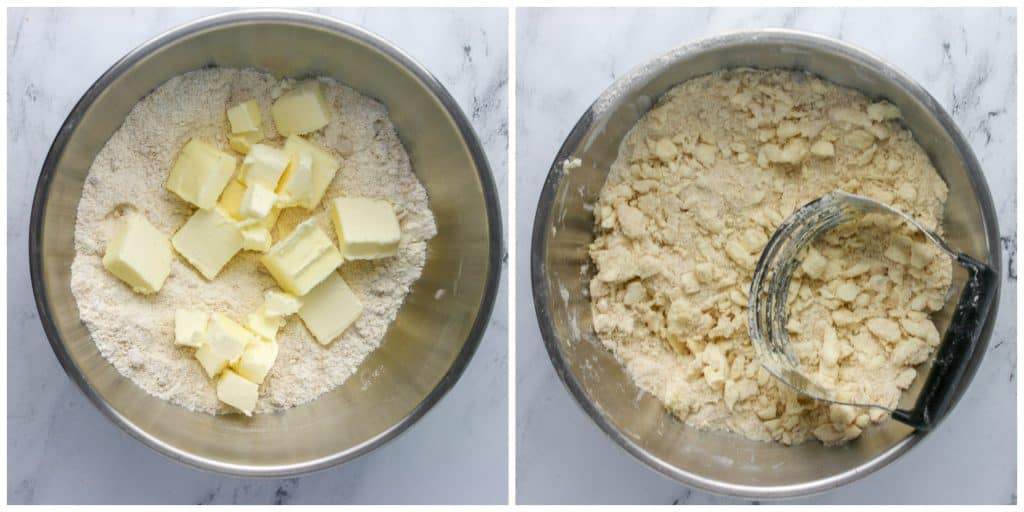 butter cut into flour mixture with a pastry cutter