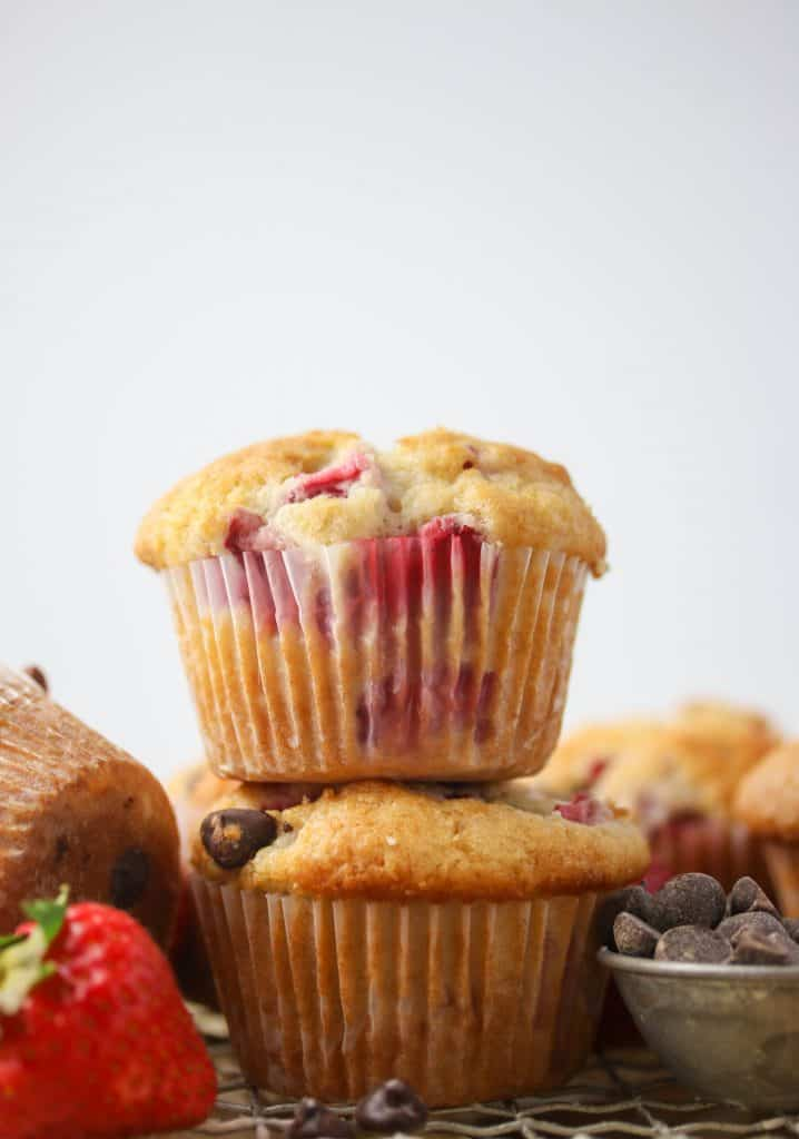 two strawberry muffins stacked on top of each other