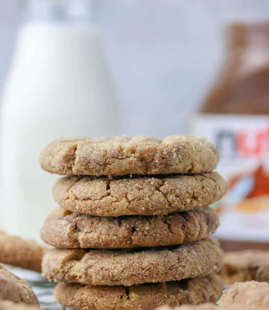 stack of peanut butter nutella cookies