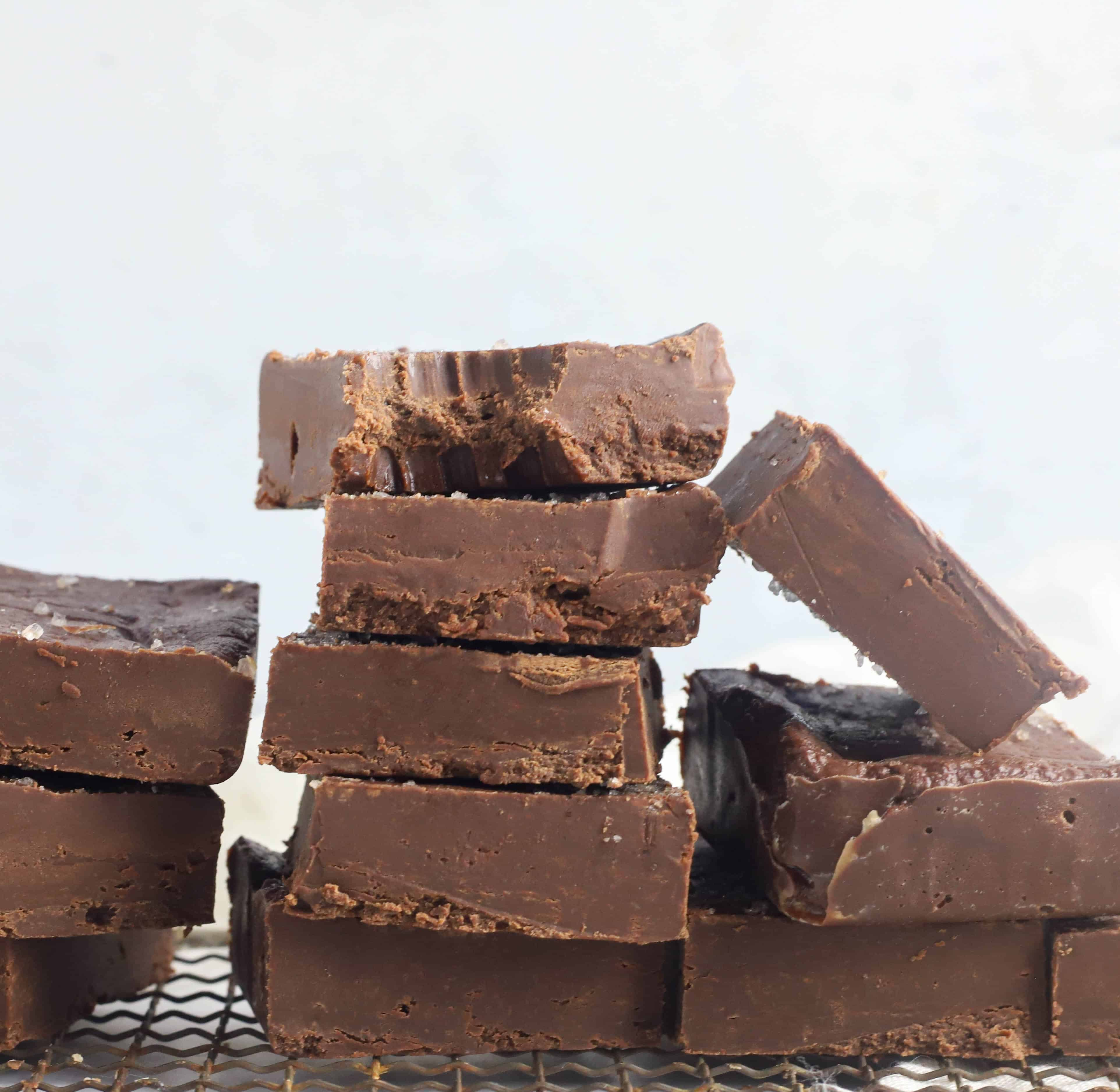 squares of Nutella fudge stacked