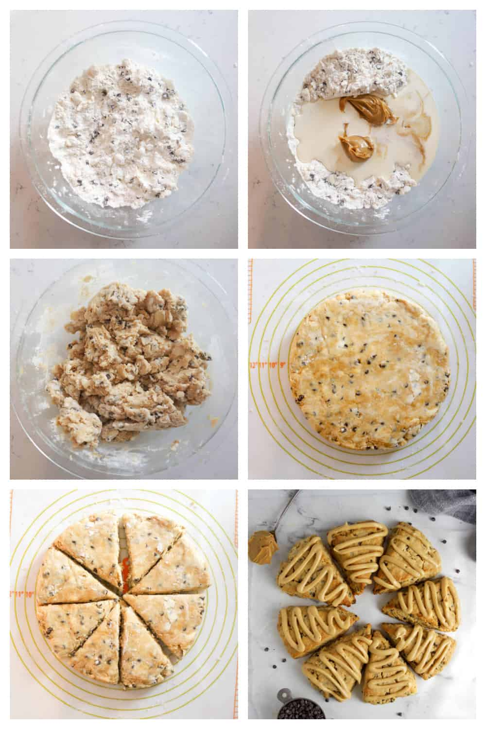 step by step photos of making the peanut butter scones