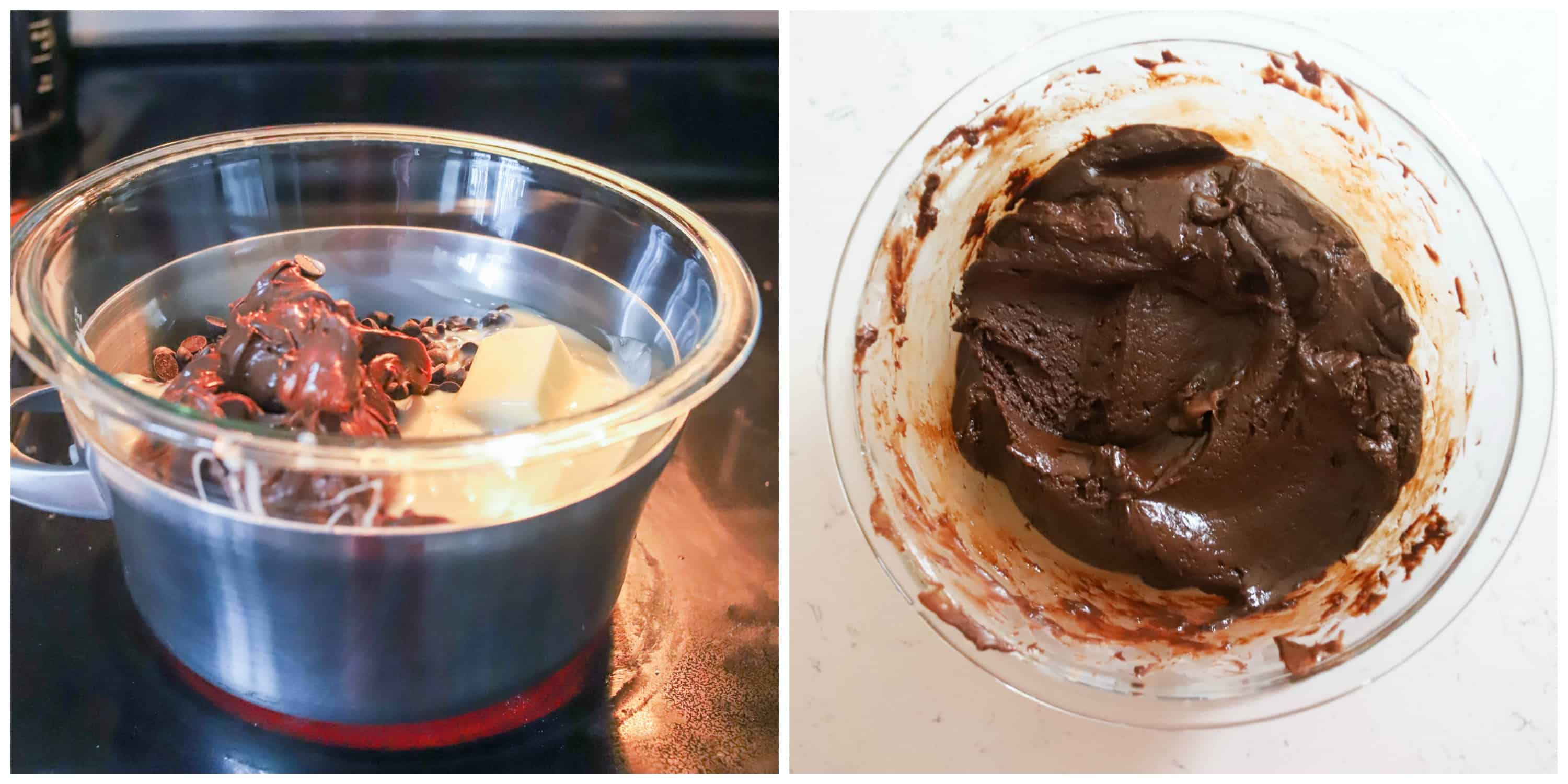 two photos of fudge mixture in bowl over double boiler and fudge mixture melted together