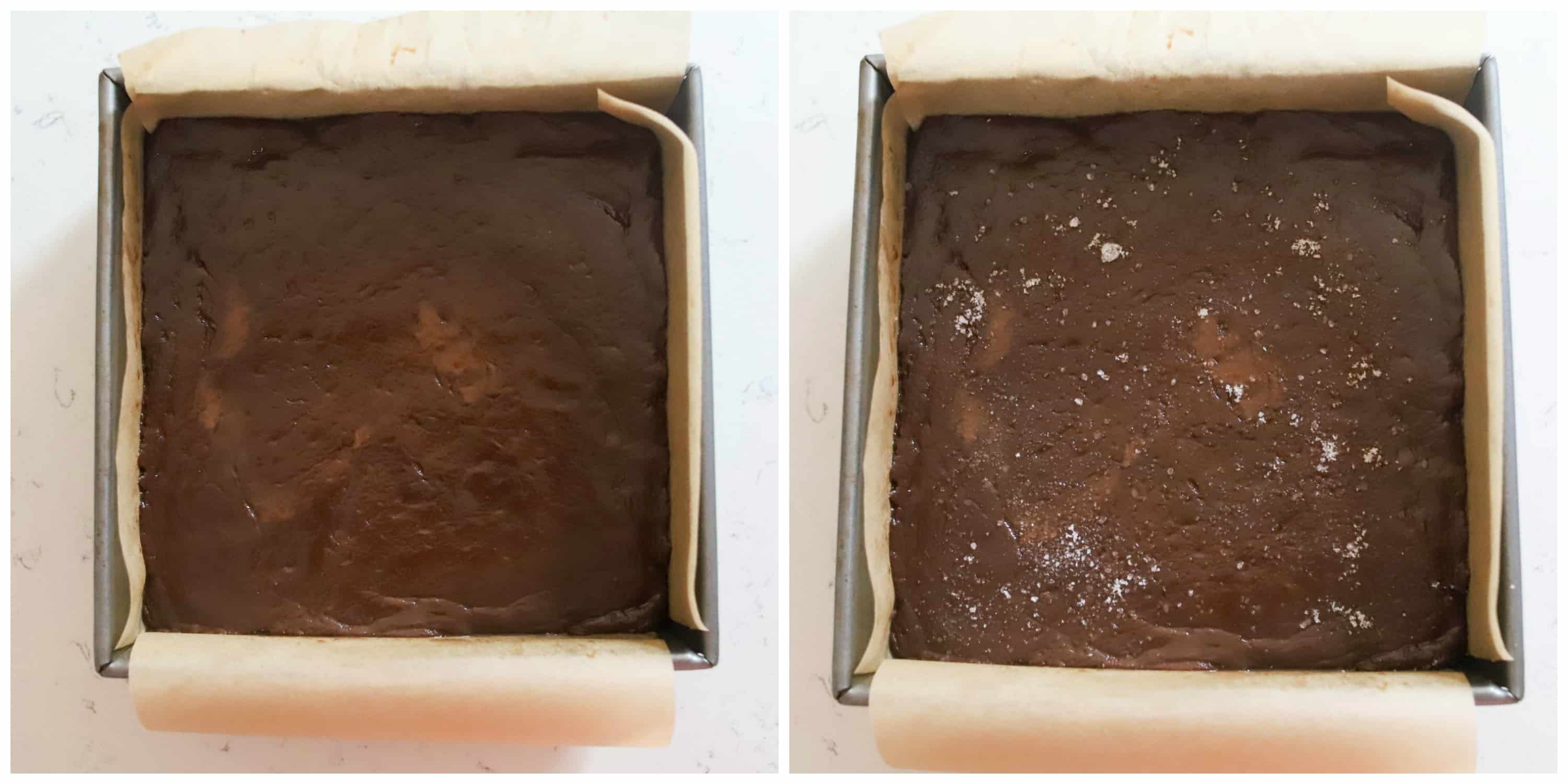 two photos of fudge in pan, one with salt and one without