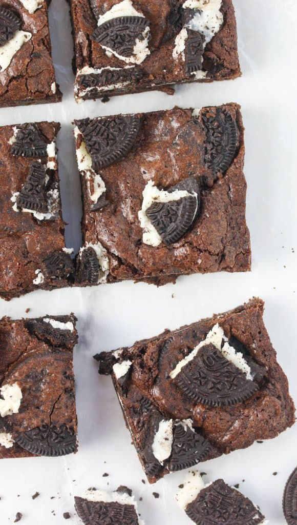 oreo brownies cut into squares