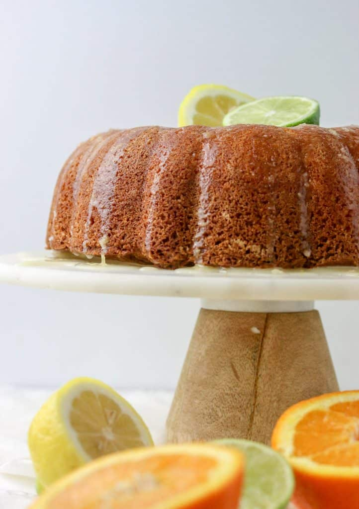 lemon pound cake on a cake stand