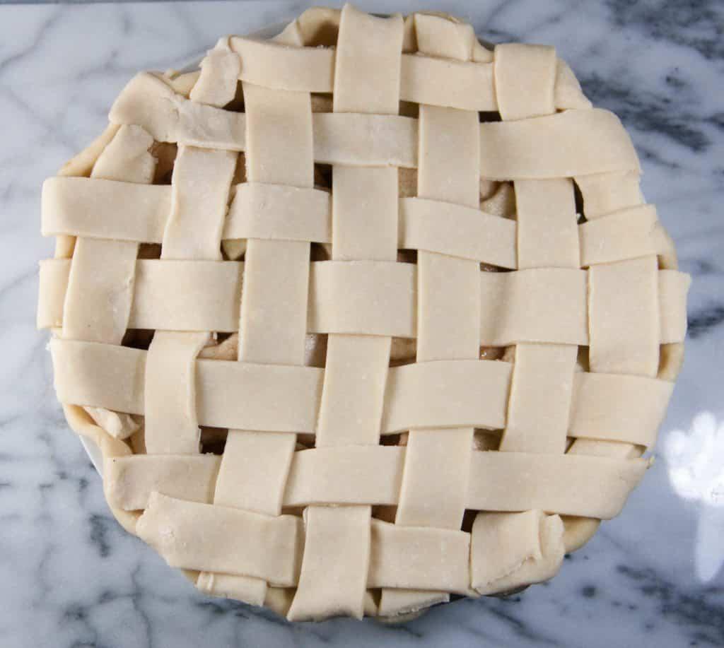 a pie with lattice crust