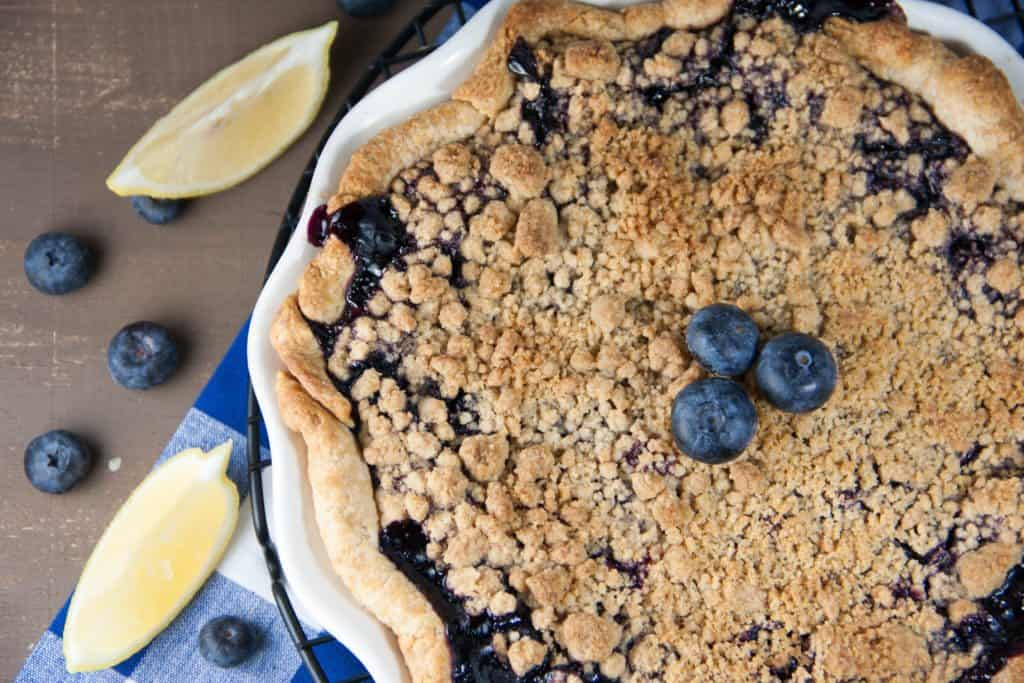 blueberry pie on a cooling rack