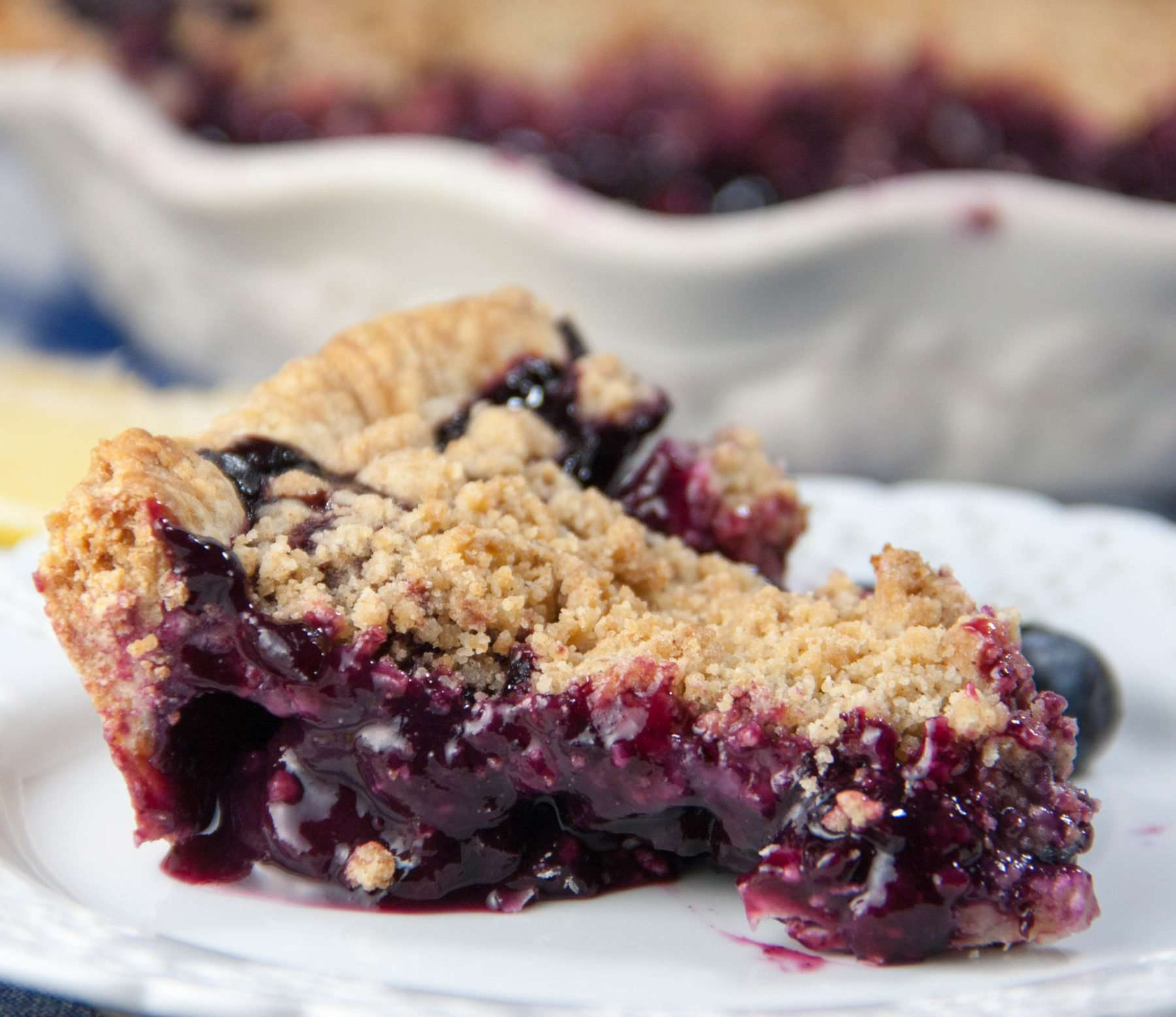 Blueberry pie slice on a plate
