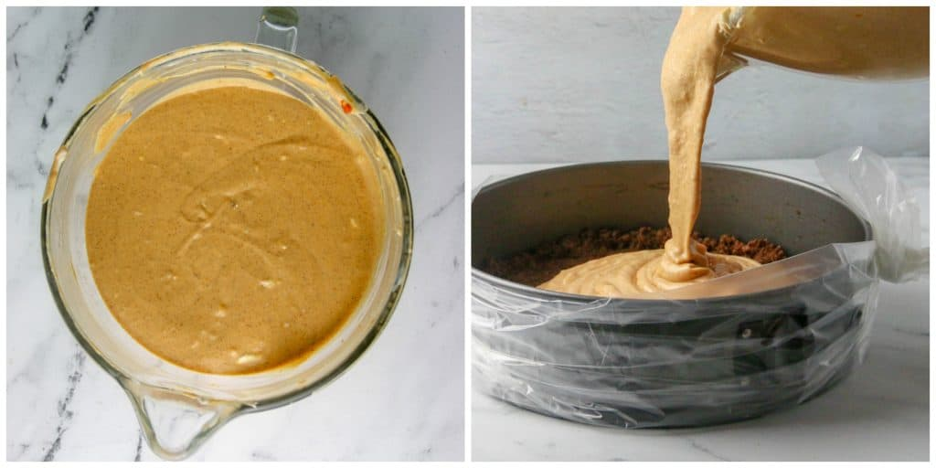 mixer bowl of pumpkin cheesecake and being poured into cheesecake pan