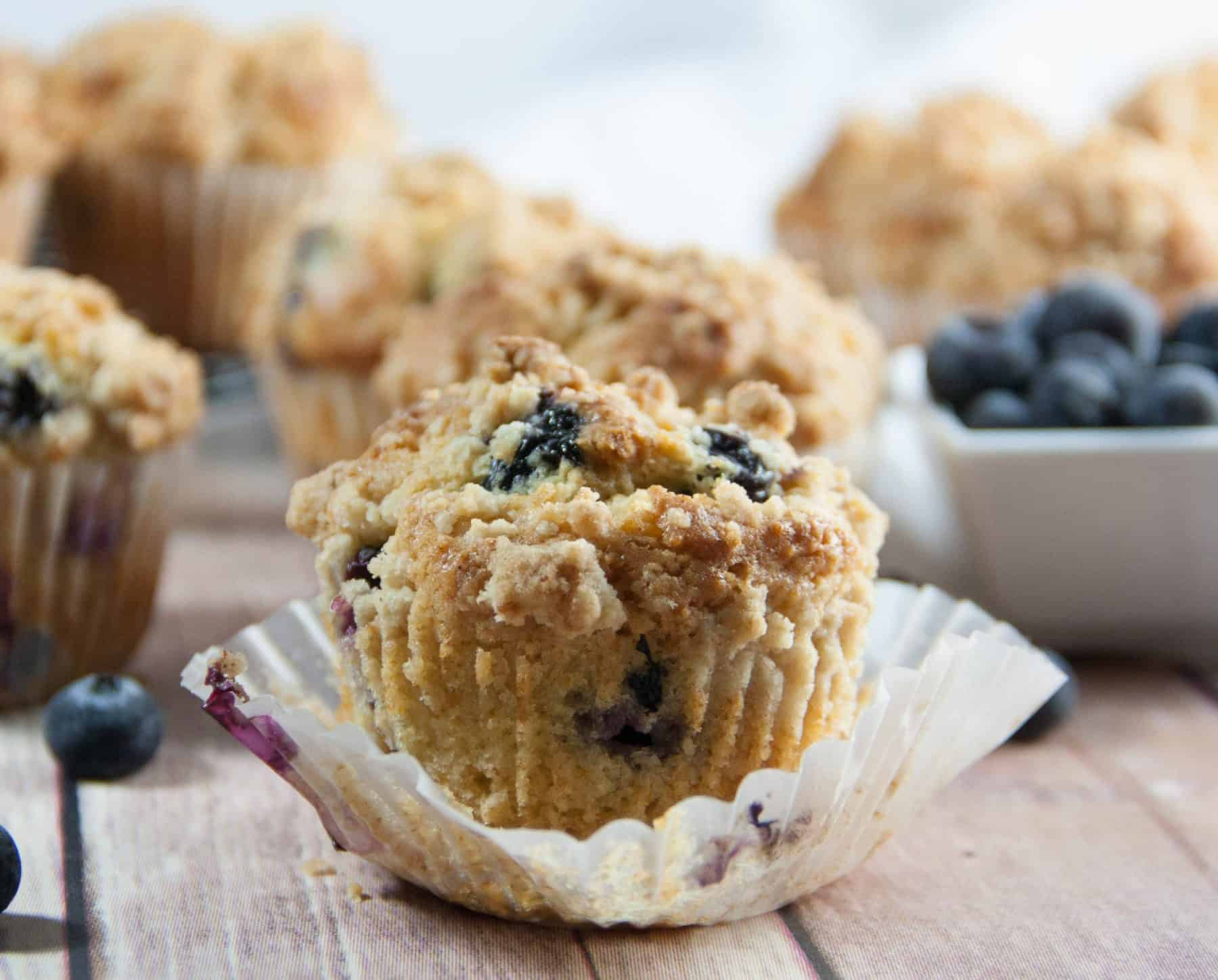 blueberry muffin in a liner