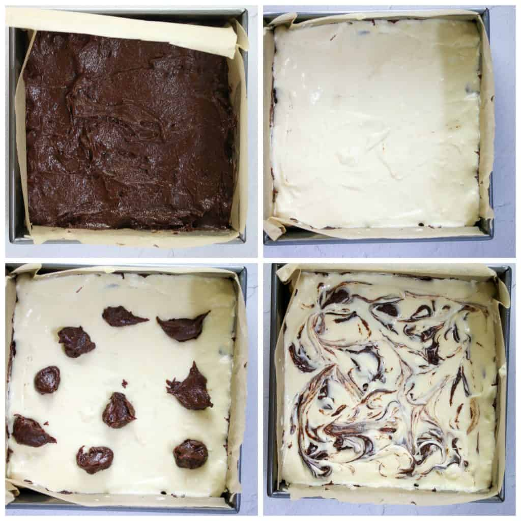 step by step photos of assembling cheesecake marbling layer