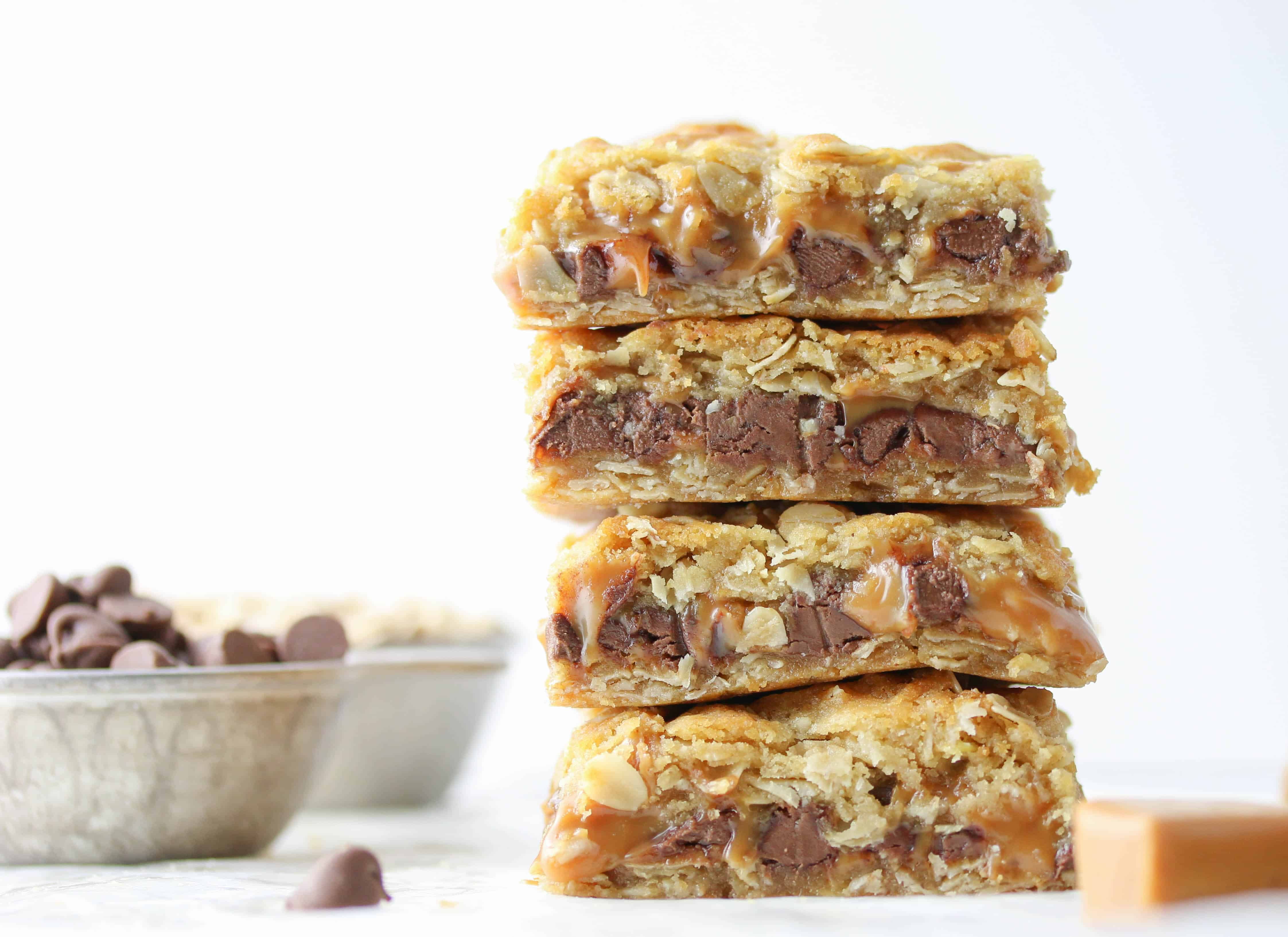 four chocolate oatmeal bars stacked on top of each other