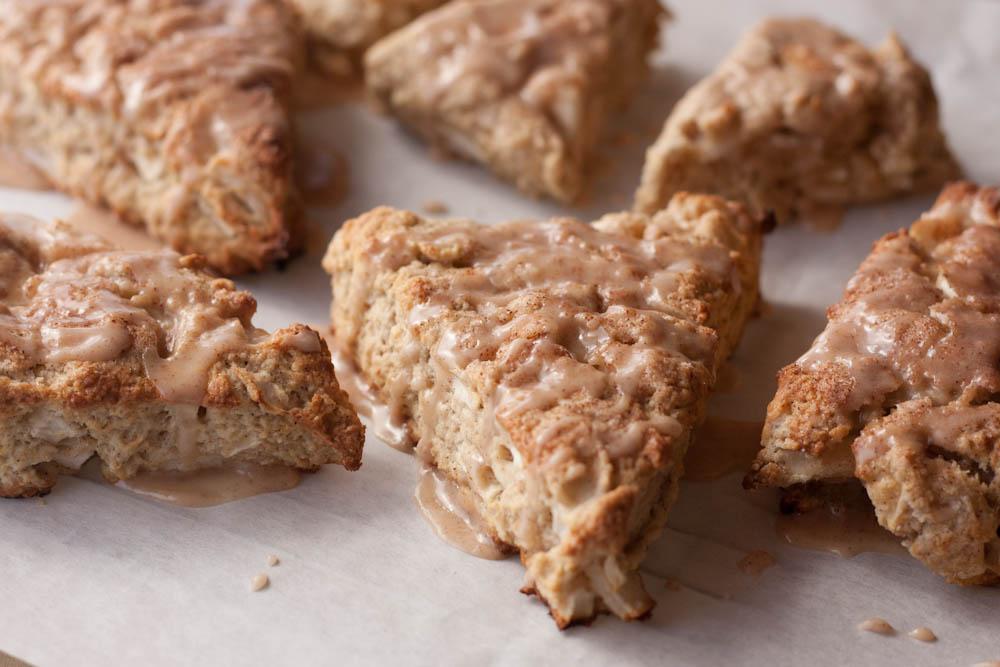 apple cinnamon scones on parchment paper