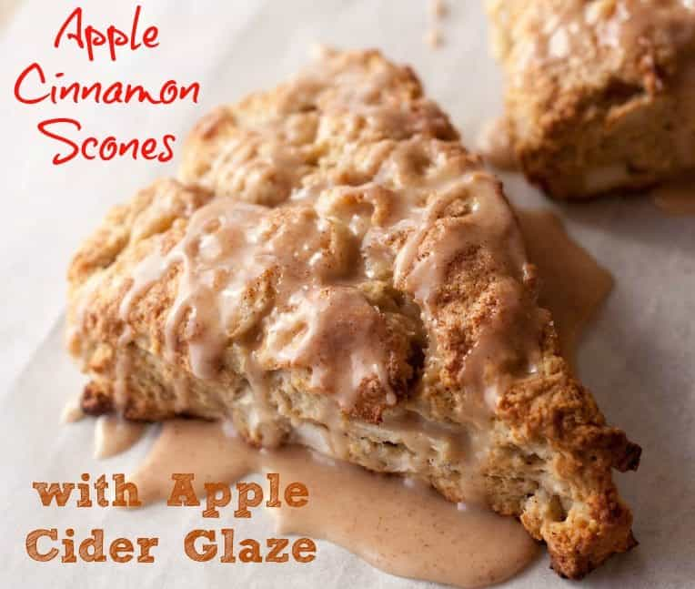 apple cinnamon scones with glaze