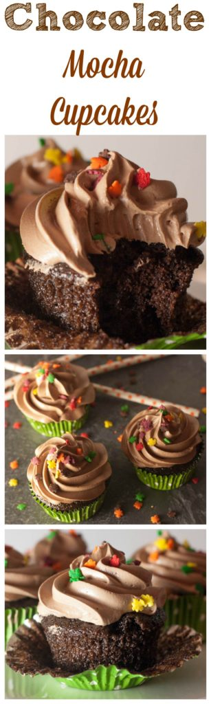 Chocolate cupcakes with mocha frosting