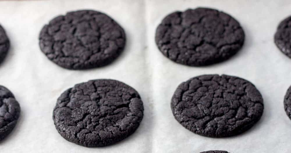 homemade oreos on parchment paper