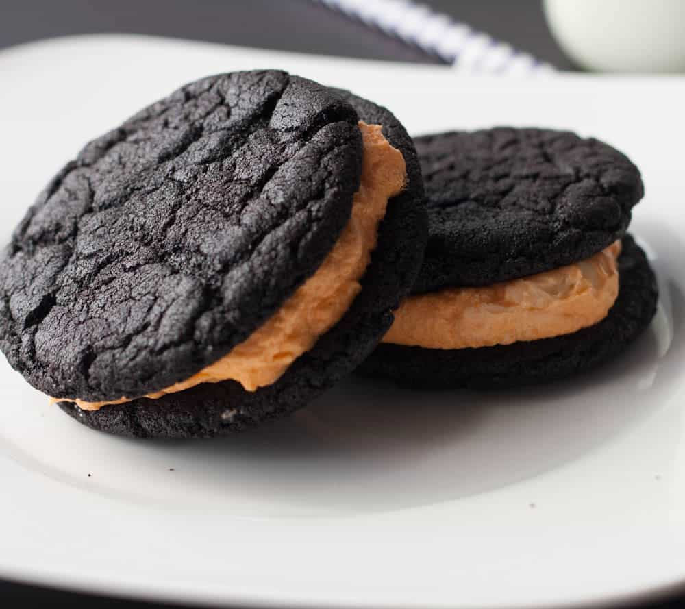 two homemade oreos on a plate