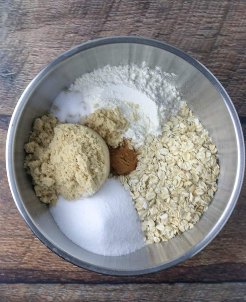 ingredients for oatmeal crisp topping in a bowl