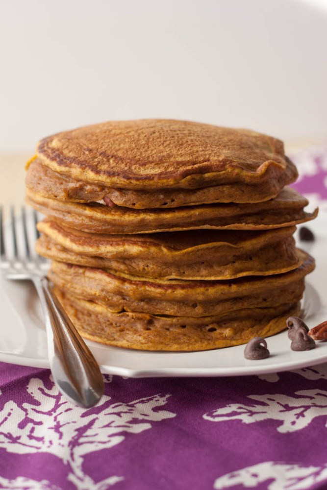 stack of pumpkin pancakes