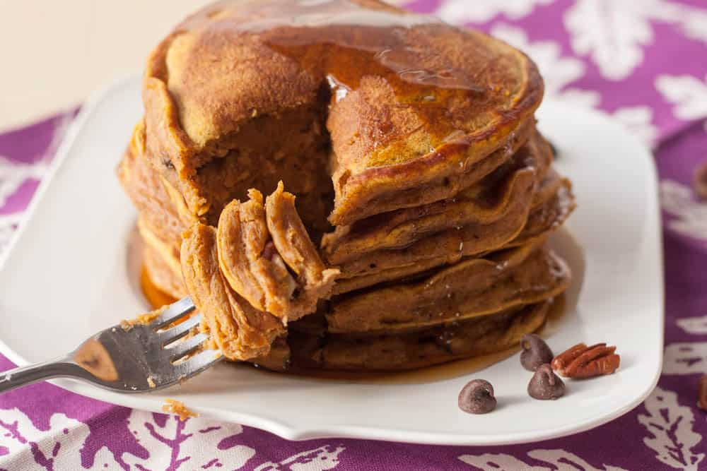pumpkin pancakes with a fork