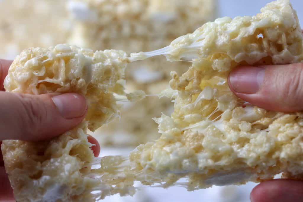 rice krispie treat being pulled apart