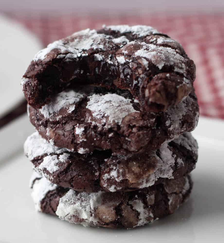 stack of flourless fudge cookies