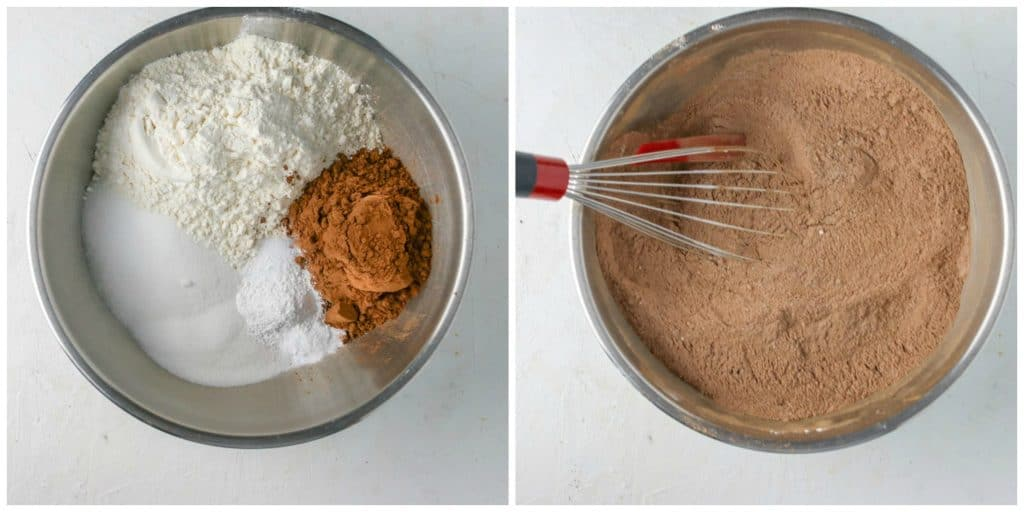 dry ingredients for chocolate cupcakes in bowl