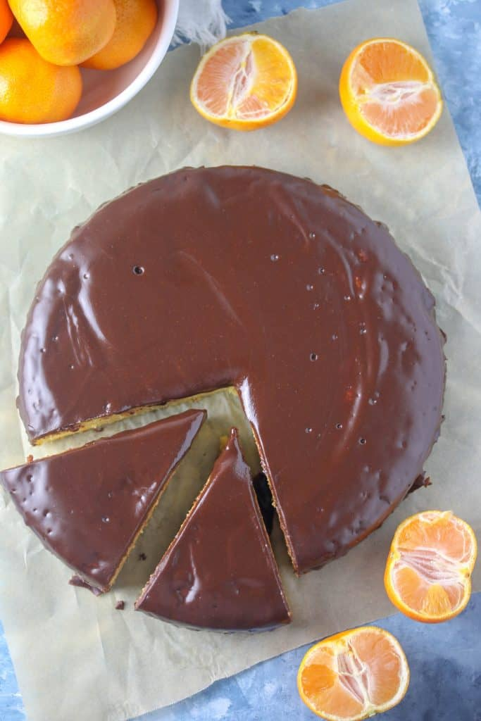 clementine cake with two slices cut