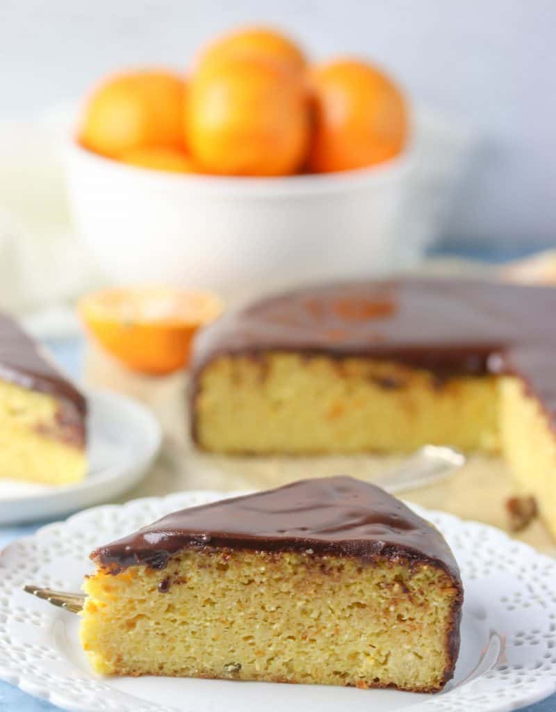 slice of gluten free clementine cake on a plate