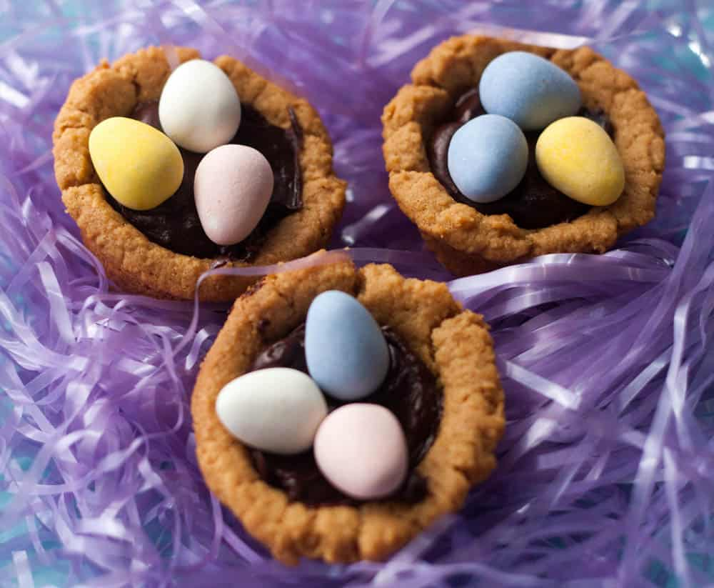 3 cadbury mini egg cookie cups in Easter grass