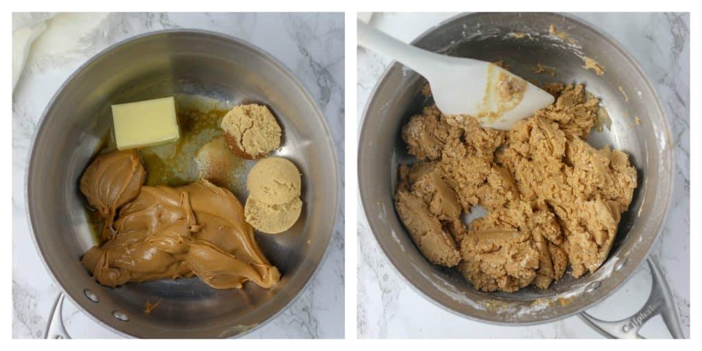 peanut butter egg ingredients in saucepan