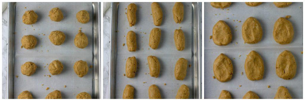 peanut butter eggs shaped on cookie sheet