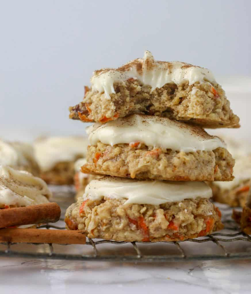 a stack of carrot cake cookies