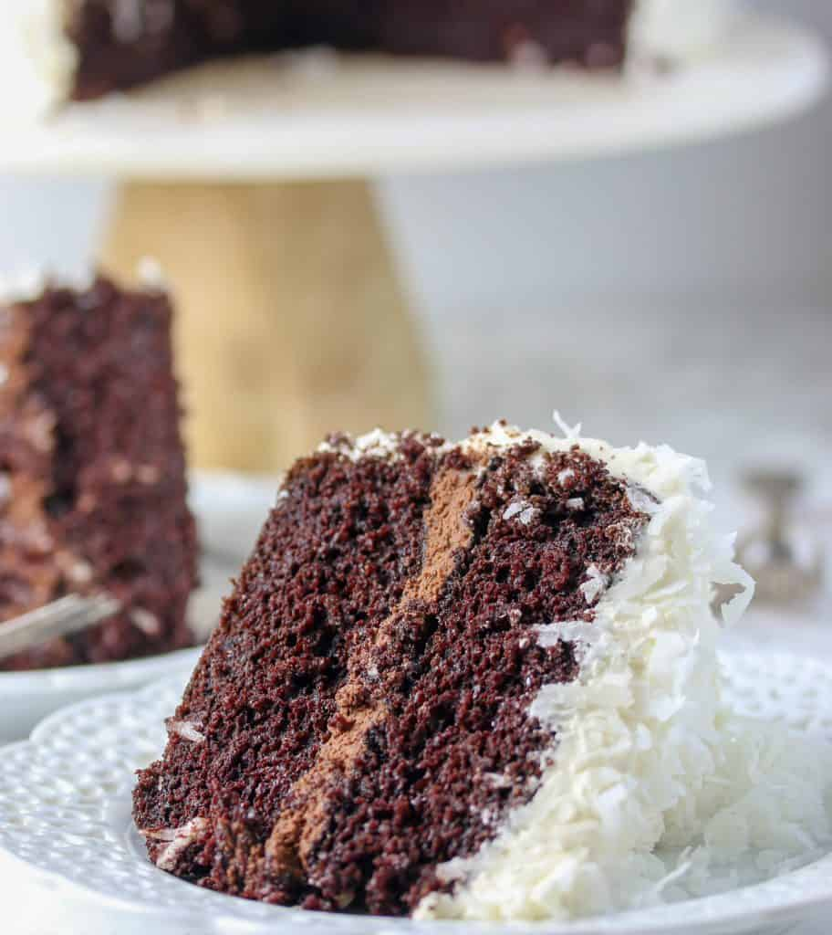 slice of coconut chocolate cake on a plate