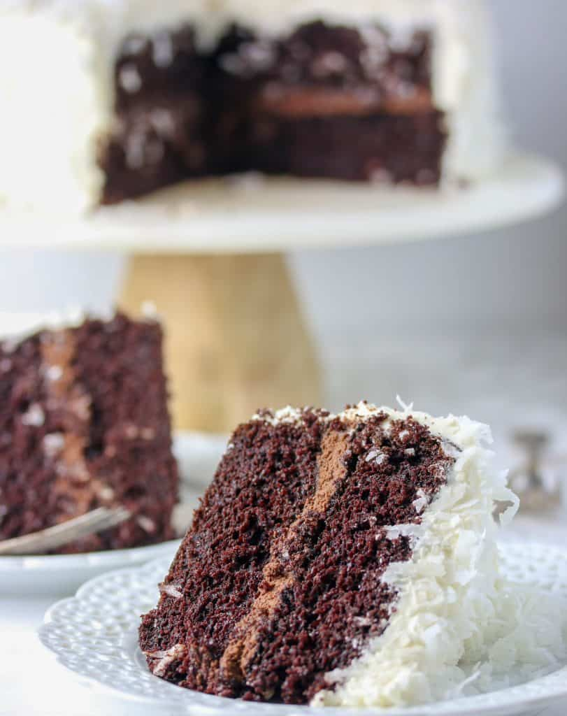 chocolate coconut cake on a plate
