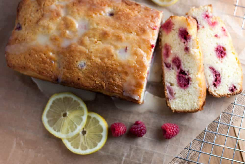 lemon raspberry bread on a wire cooling rack