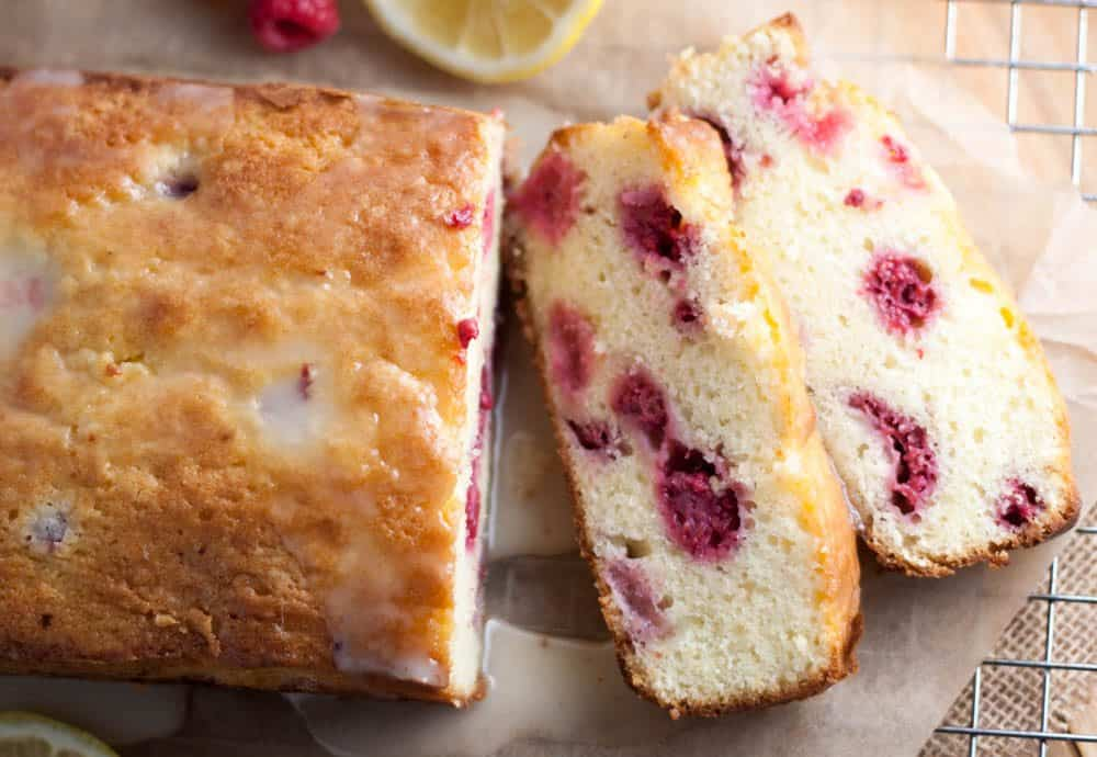 lemon raspberry bread sliced