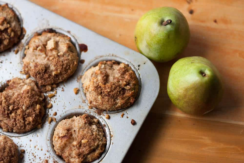 pear streusel muffins and two pears