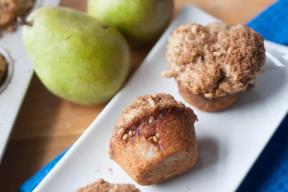 Walnut Pear Muffins with streusel crumble on a plate