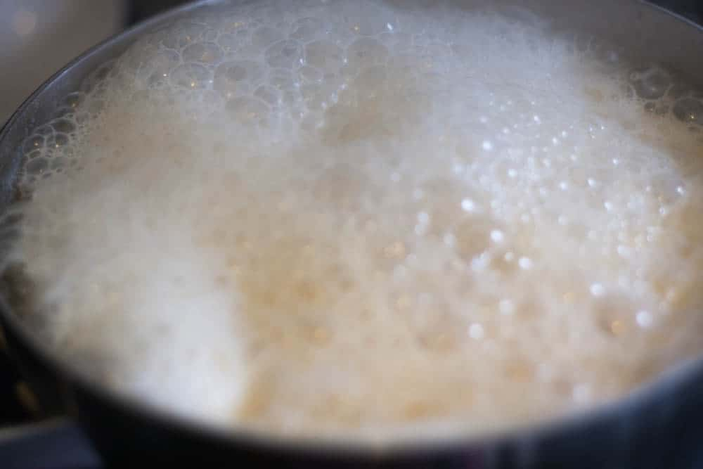 heavy cream bubbling