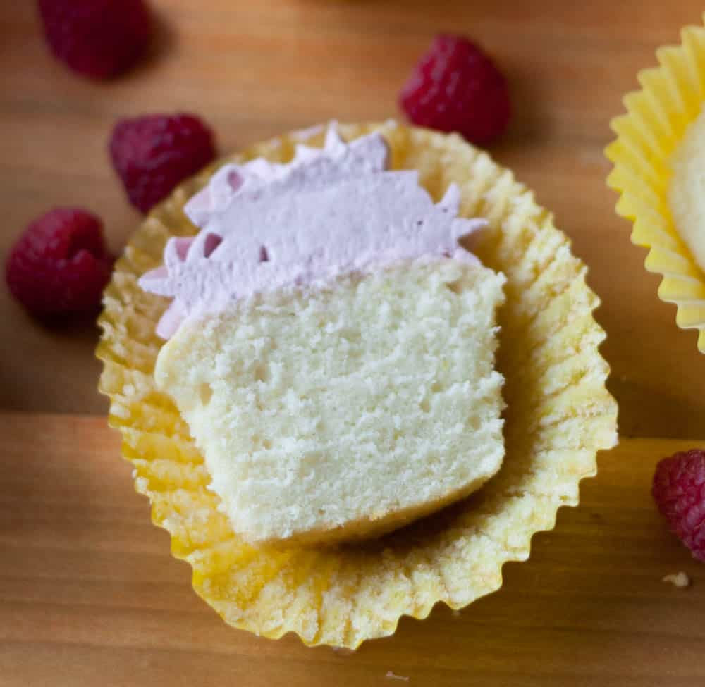 lemon cupcake cut in half