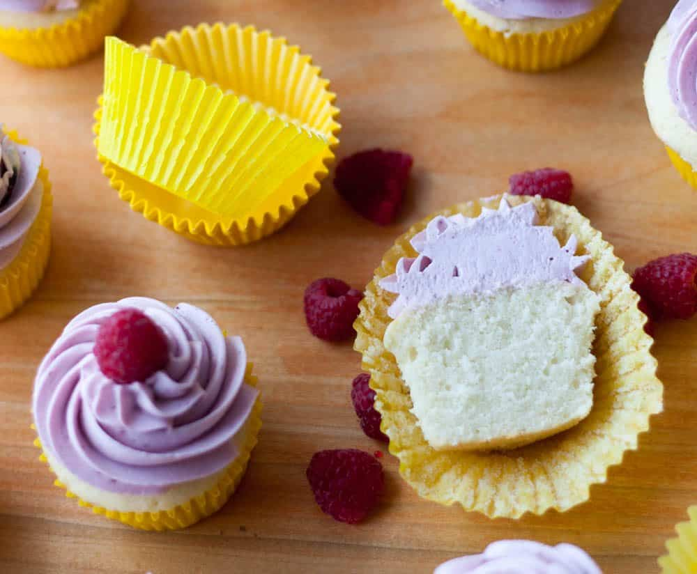 cupcake cut in half and yellow cupcake liners